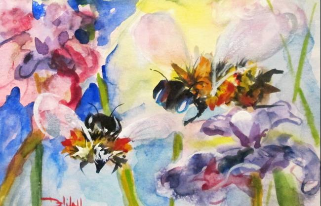 Art: Bees and Flowers by Artist Delilah Smith