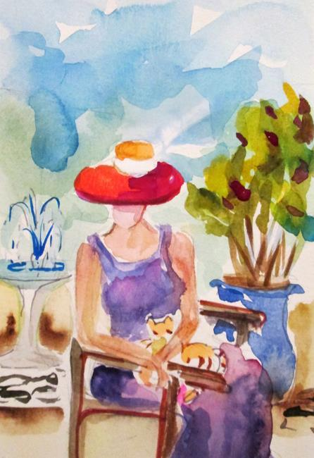 Art: Woman with Cat by Artist Delilah Smith