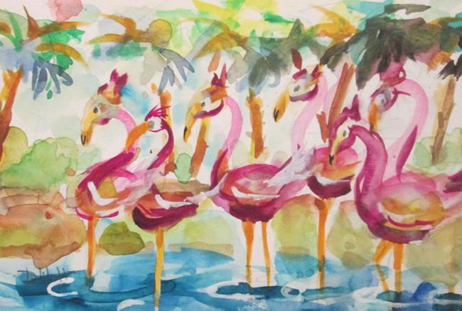 Art: Flock of Flamingo by Artist Delilah Smith