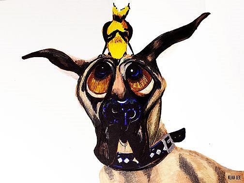 Art: Bird and Hound org lr by Artist Alma Lee