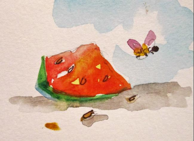 Art: watermelon and Bee by Artist Delilah Smith