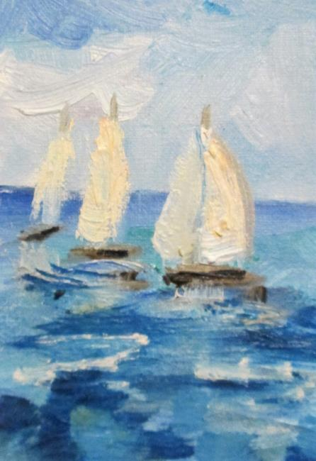 Art: Sailboats Aceo by Artist Delilah Smith