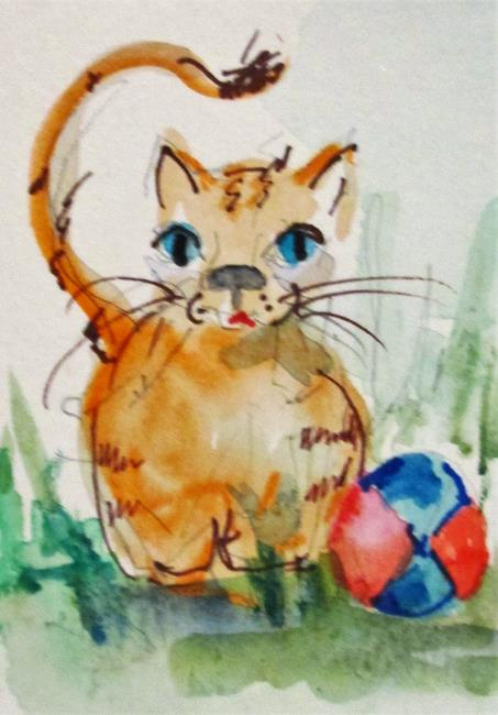 Art: Kitten and Ball by Artist Delilah Smith