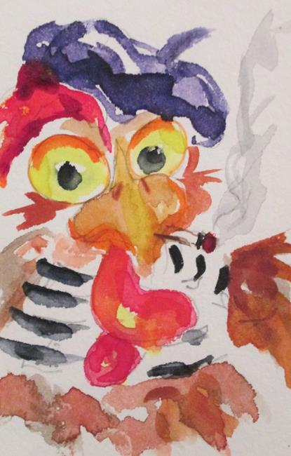 Art: French Hen by Artist Delilah Smith