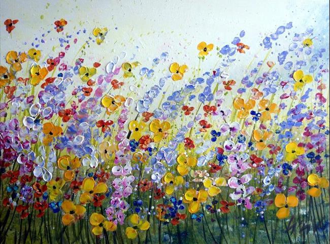Art: WINDY FLOWERS FIELD by Artist LUIZA VIZOLI
