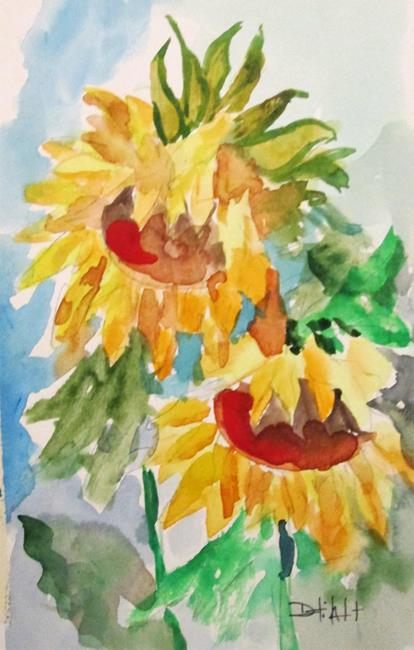 Art: Two Sunflowers by Artist Delilah Smith