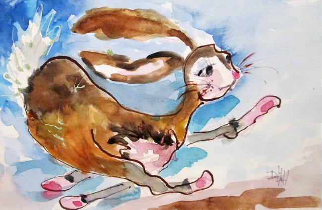 Art: Running Rabbit by Artist Delilah Smith