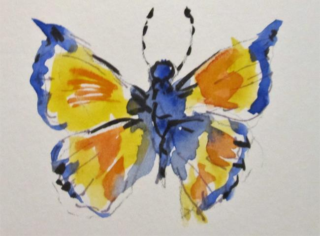 Art: Yellow and Blue Butterfly by Artist Delilah Smith