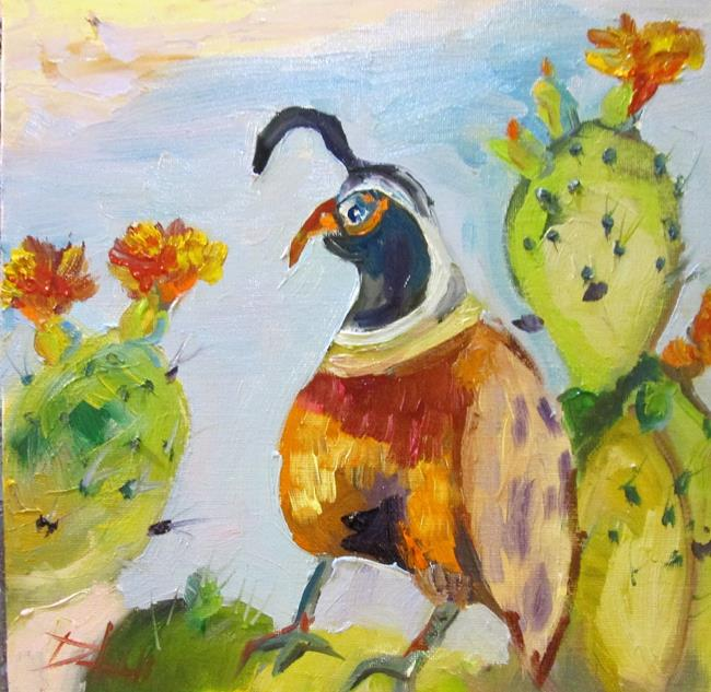 Art: Quail on a Cactus by Artist Delilah Smith