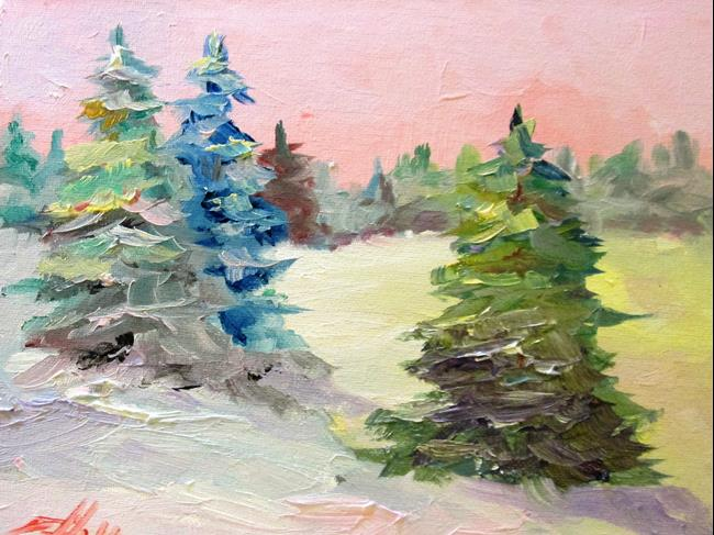 Art: Snow Covered Pines by Artist Delilah Smith