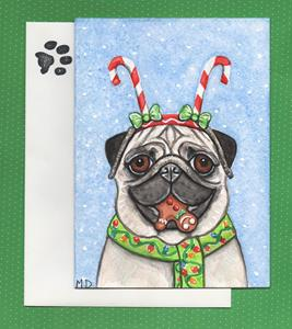 Detail Image for art Candy Cane Cookie Pug