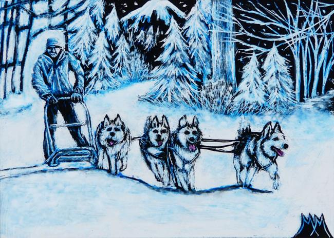 Art: Sled Dogs  (SOLD) by Artist Monique Morin Matson