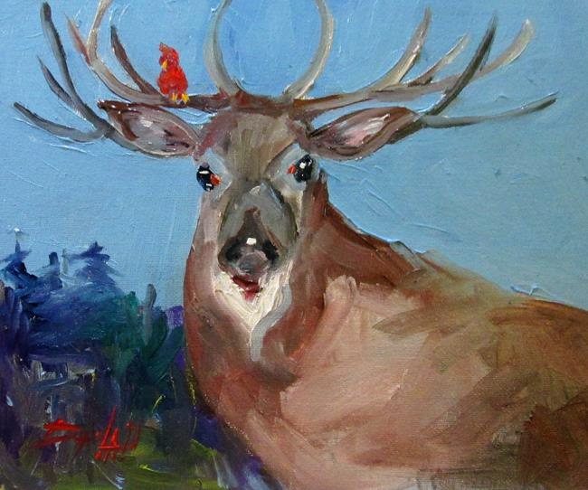 Art: Deer and Cardinal by Artist Delilah Smith