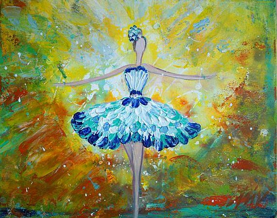 Art: Ballerina Blue Dress by Artist LUIZA VIZOLI