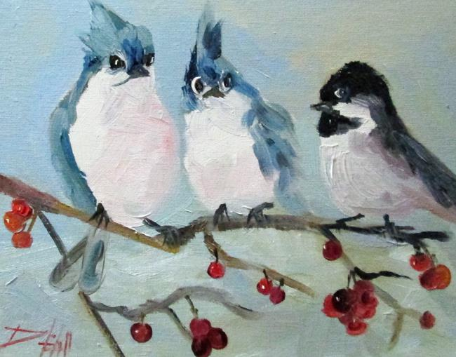 Art: Blue Jays and Chickadee by Artist Delilah Smith