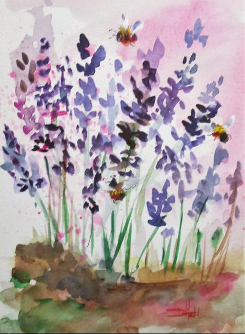 Art: Lavender and Bees No. 4 by Artist Delilah Smith
