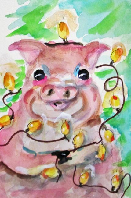 Art: Christmas Pig by Artist Delilah Smith