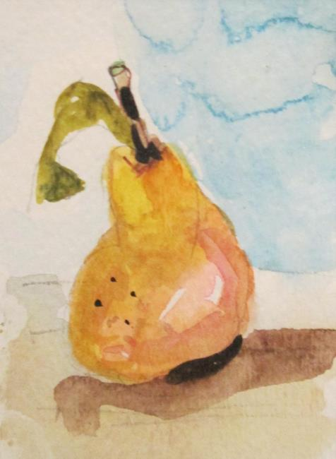 Art: Yellow Pear aceo by Artist Delilah Smith