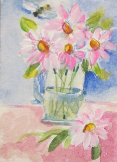 Art: Pink Daisy-sold by Artist Delilah Smith
