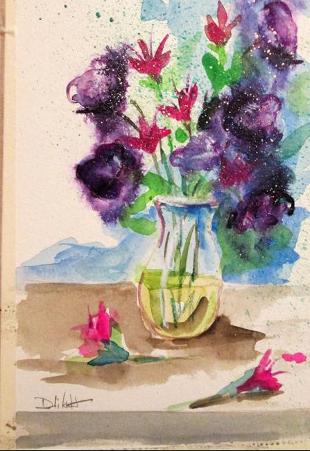 Art: Purple Floral Still life by Artist Delilah Smith