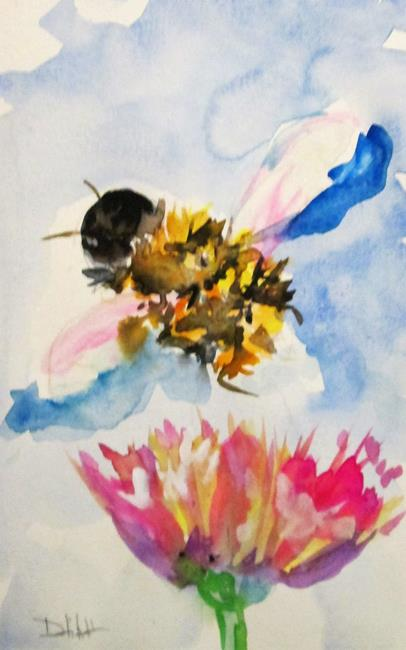 Art: Bee and Pink Flower by Artist Delilah Smith