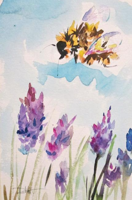 Art: Bee and Lavender by Artist Delilah Smith