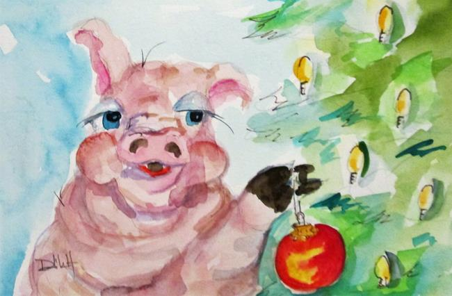 Art: Christmas Pig No.3 by Artist Delilah Smith