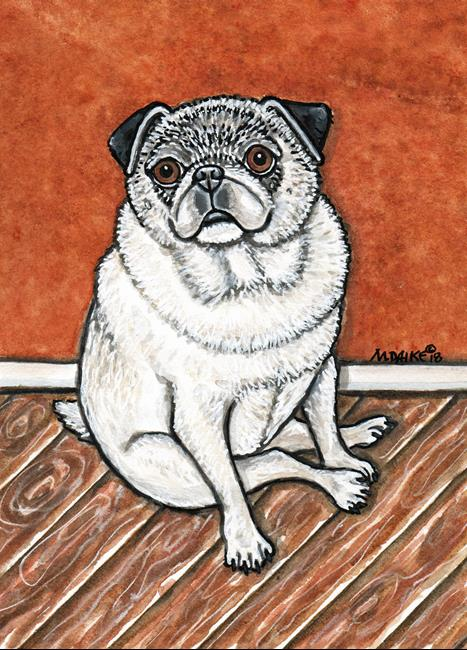 Art: Impression of a Sitting Pug by Artist Melinda Dalke