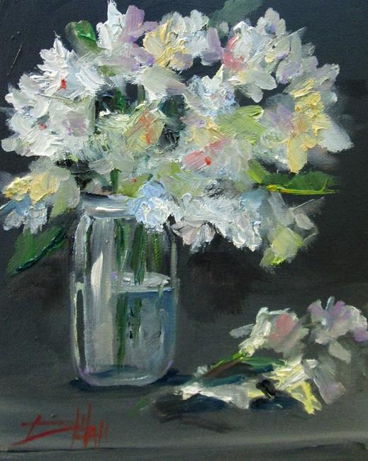 Art: White Flowers in a Jar by Artist Delilah Smith