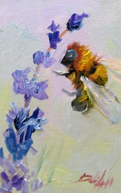 Art: Lavender and Bee No.5-sold by Artist Delilah Smith
