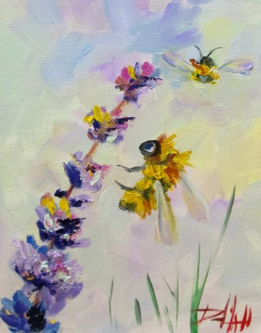 Art: Bees and Lavender No.7 by Artist Delilah Smith
