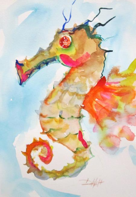 Art: Seahorse with Red Fin by Artist Delilah Smith