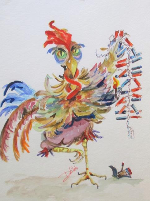 Art: Firecracker Rooster by Artist Delilah Smith