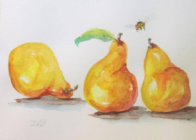 Art: Three Yellow Pears and Bee by Artist Delilah Smith