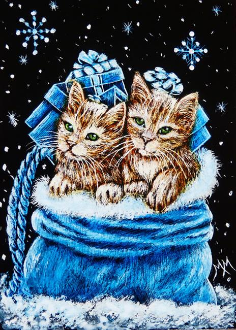 Art: Playing in Santa's Bag  (SOLD) by Artist Monique Morin Matson