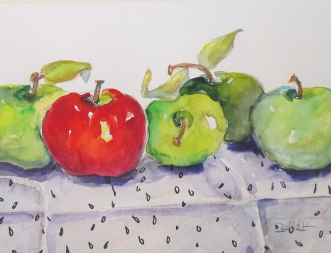 Art: Red and Green Apples No. 19 in Apple Series by Artist Delilah Smith
