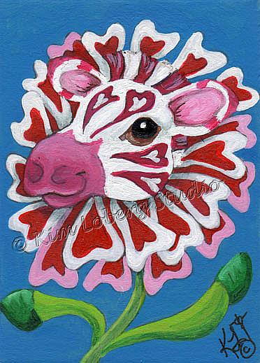 Art: In the Pink Zebra Zinnia by Artist Kim Loberg