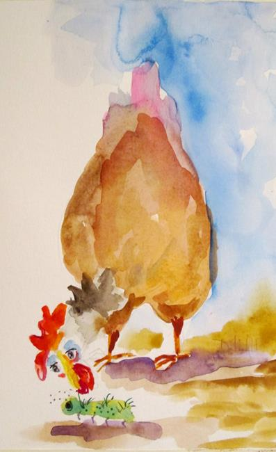 Art: Chicken and Worm by Artist Delilah Smith