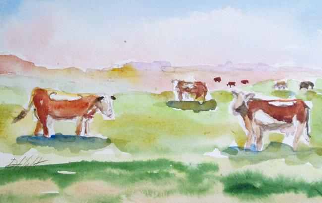 Art: Pasture Cows by Artist Delilah Smith