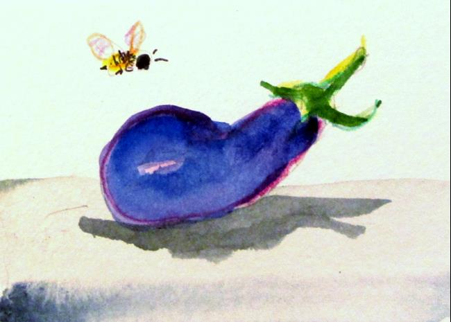 Art: Egg Plant and Bee by Artist Delilah Smith