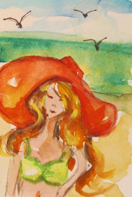 Art: Aceo Beach Girl by Artist Delilah Smith