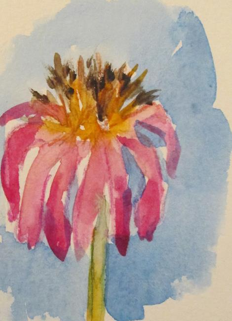 Art: Pink Coneflower by Artist Delilah Smith