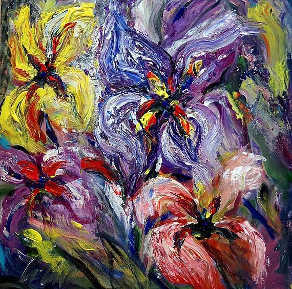 Art: Iris Flowers by Artist LUIZA VIZOLI