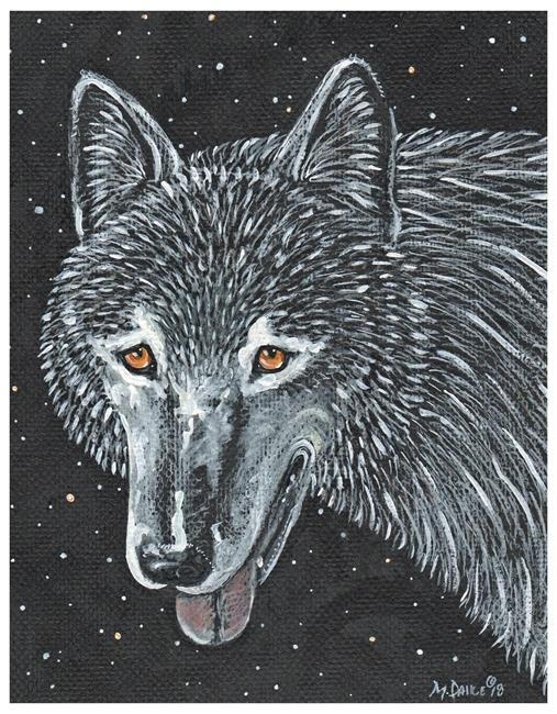 Art: Wolf at Night by Artist Melinda Dalke