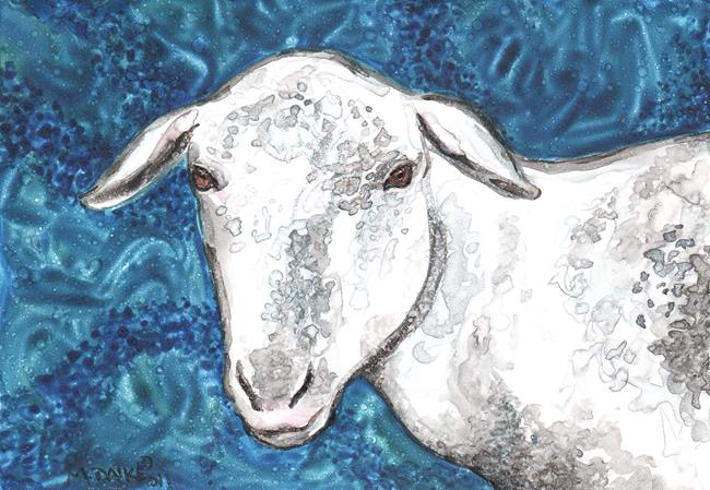 Art: Sheep in Blues by Artist Melinda Dalke