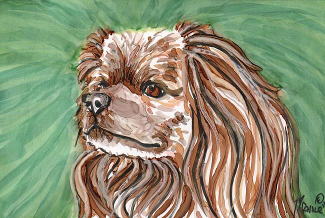 Art: Dog with Green Background by Artist Melinda Dalke