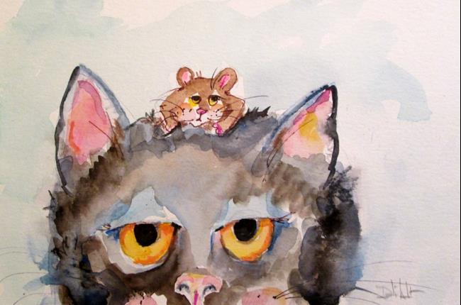 Art: Cat and Mouse by Artist Delilah Smith