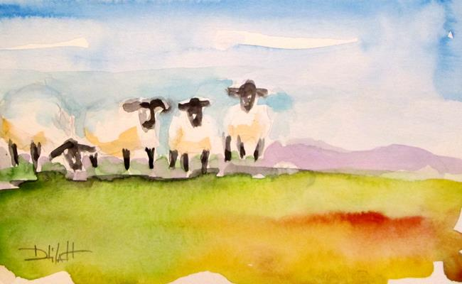 Art: Field of Sheep by Artist Delilah Smith