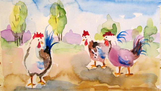 Art: Hens No. 2 by Artist Delilah Smith