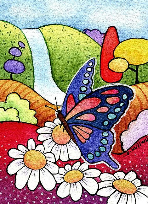Art: Butterfly and Daisies by Artist Sandra Willard